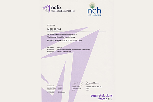 Hypnotherapy Practitioner Diploma endorsed by the NCH