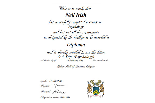 Psychology Diploma Certificate